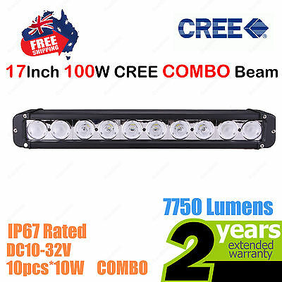 17inch 100W CREE LED Light Bar Work COMBO Beam SINGLE ROW Truck ATV SUV 4WD Car