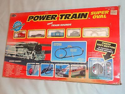 Mel Appel Power Train Super Oval Set Battery Operated Micro Gauge 1990