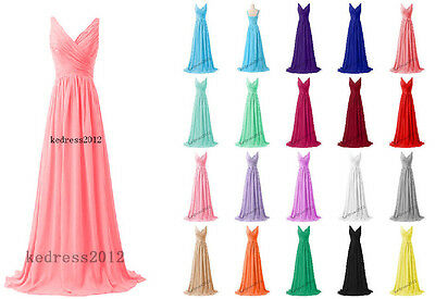 New Straps Chiffon Long Bridesmaid Formal Prom Party Ball Evening Dress Size6-22