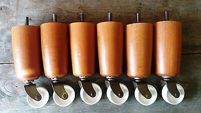 Vintage Set of 6 Matching Chunky Wooden Legs/White Castors - Upcycle Project