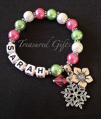 Personalised Frozen Fever Inspired Child Adult Name Bracelet Charm, Party Favour