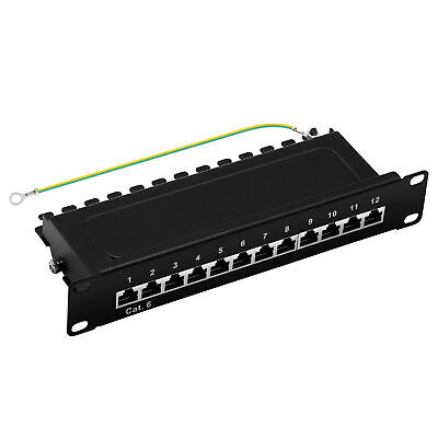 "ProfiPatch Patchpanel Cat.6 E 250MHz 12-Port RJ45 geschirmt 10"" 1HE schwarz 1GB"
