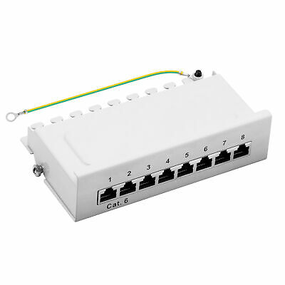 Patchpanel Cat.6 8-Port 1HE RJ45 geschirmt Desktop Aufputz grau 1GB ProfiPatch