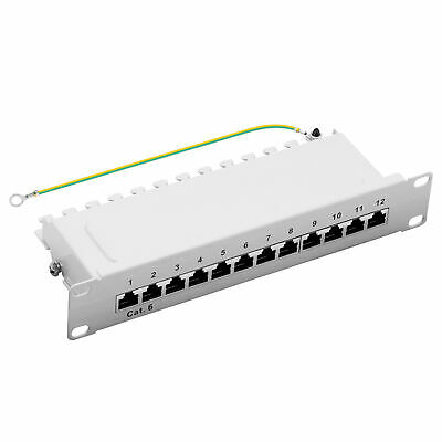 "ProfiPatch Patchpanel Cat.6 Class E 250MHz, 12-Port geschirmt, 10"" 1HE,grau, 1GB"