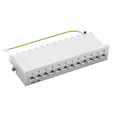 Patchpanel Cat.6A 500MHz 12-Port geschirmt Desktop Aufputzmontage 1HE grau 10GB