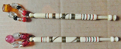 2 ANTIQUE BOVINE BONE LACE BOBBINS with ORIGINAL COLOURED SPANGLES (R3)