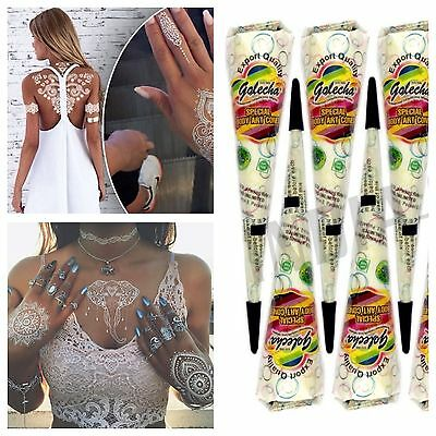 White Indian Henna Golecha Temporary Tattoo Paste Cone Body Art Party Bridal