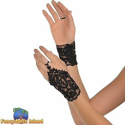 GOTHIC LACE GLOVETTES HALLOWEEN - One Size - womens ladies fancy dress accessory