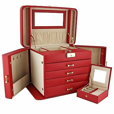 Empress Extra Large Red Leather Jewellery Box by Mele & Co