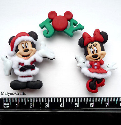 Disney MICKEY & MINNIE CHRISTMAS Craft Buttons 1ST CLASS POST Mouse Dress It Up