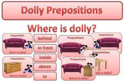 dolly bear PREPOSITION themed resource cards EYFS KS1 KS2 speech and language