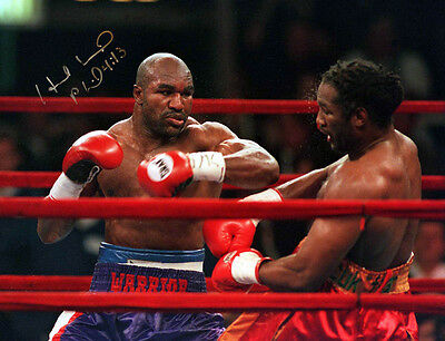 Evander Holyfield Vs Lennox Lewis Signed 12x16 Boxing Photograph