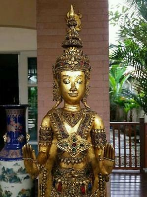 Masterpiece Antique Gilt Bronze Buddha Walking Meditation Thai Amulet Statues