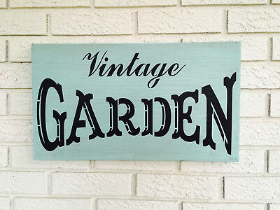 "Large Rustic Wood Sign - ""Vintage Garden"" Decor, Fixer Upper, Robins Egg Blue"