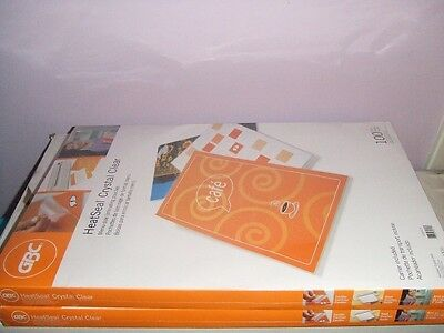 GBC HeatSeal Crystal Clear 5mil 100 pack Menu Size Laminating Pouches NEW