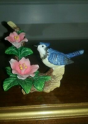 Bird Figurine Porcelain Blue Jay Resting On Branch With Two Pink Flowers