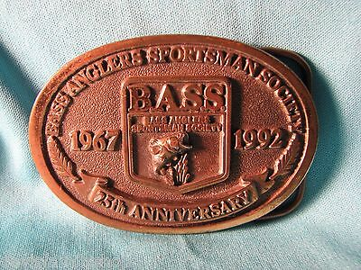"BASS 25th Anniversary 1992 Bass Angler Sportsman Society Belt Buckle 3""L 2""H"