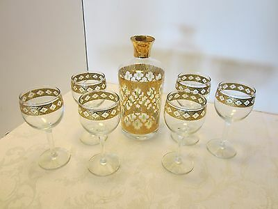 Culver GLASS Valencia Set 8 PCS 1 decanter 7 Wine Glasses 22K Gold Mid Century M