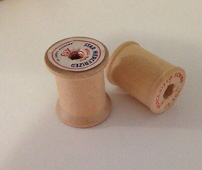 Lot Of Two Mini Vintage Wooden Cotton Reels