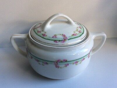Vintage KPM GERMANY Hand Painted White & Roses Sugar Bowl With Lid
