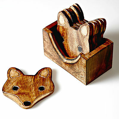 Set Of 6 Wooden Fox Vintage Style Rustic Drinks Coasters With Stand / Holder
