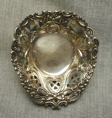 Small Old Sterling Reticulated Bowknot Bon Bon Dish - Roden Bros Toronto Canada