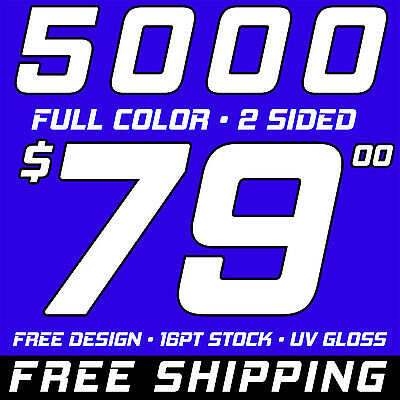 5000 Full Color Business Cards With Design, UV Gloss and FREE SHIPPING!!!