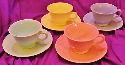 LuRay Pottery 4-Color Pastel Vintage Cup & Saucer Sets; Pristine Condition!