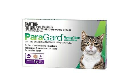 ParaGard Allwormer Tablet for Cats up to 5kg - 4 tablet pack