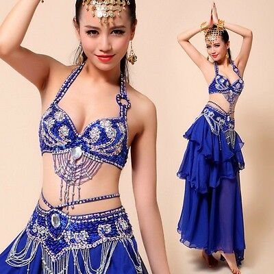AU Belly Dance Set【Top+Skirt+Beaded Belt】 Coin Dance Outfit Costume 32A-38C Bra