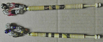 2 ANTIQUE BOVINE BONE LACE BOBBINS with ORIGINAL COLOURED SPANGLES (R6)