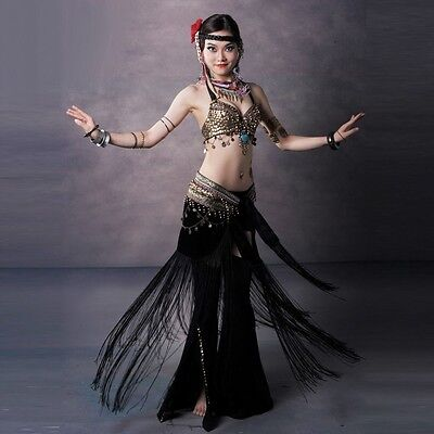 AU 70-95 B/C/D CUP Bra Top Hip Scarf Belt Pants Sets Tribal Belly Dance Costume