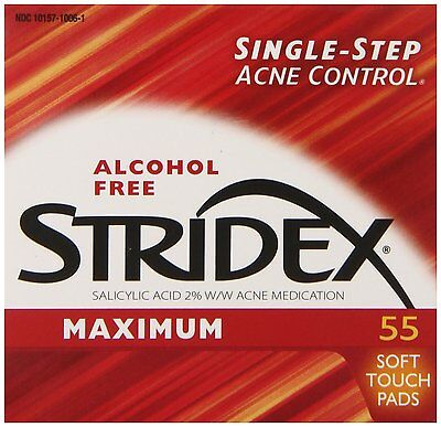 Stridex Daily Care Pads Maximum Strength Acne Medication Alcohol-Free 55 Count
