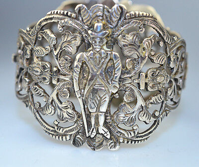 Vtg Ornate Heavy Wide Sterling Silver Bracelet Man & Woman Figures Peru 52.9 Gr.