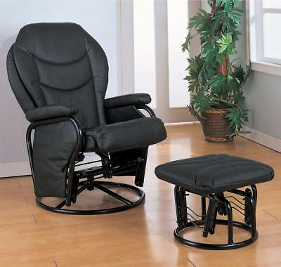 Black Leatherette Rocker Glider Recliner and Ottoman by Coaster 2946
