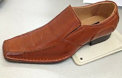 Men's dress shoes Synthetic Leather Upper L.Brown (Tan) Size 8.5-12 Slip-on 5745