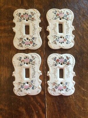 4 Vintage Ceramic Light Switch Plate Covers With Flowers - Made In Japan!!