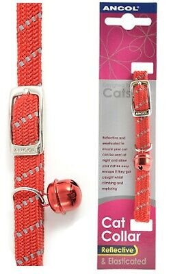 Ancol Reflective Softweave Cat Collar Red Elasticated Safety Clip Release Bell
