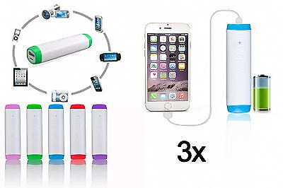 3x LOT Of Universal Portable Battery Charger Power Bank 2600mAh For Mobile Phone