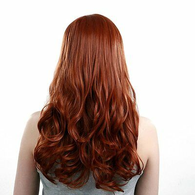 Heat Resistant Inclined Bang Big Wavy Auburn Red Cosplay Full Wig BF