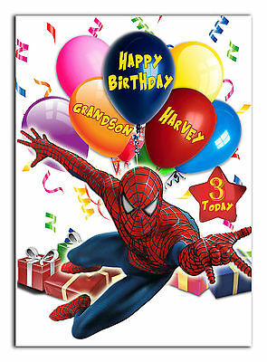 c459; Large Personalised Birthday card; Custom made for any name; Spiderman