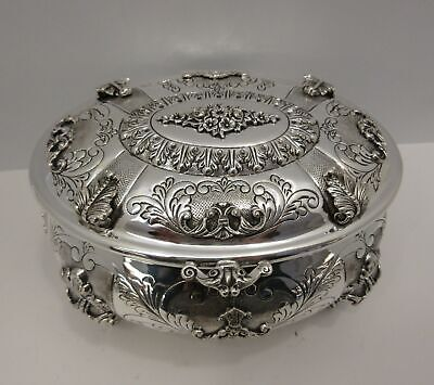 Fine 925 Sterling Silver Hand Chased Ornate Floral Rover Oval Esrog Jewelry Box