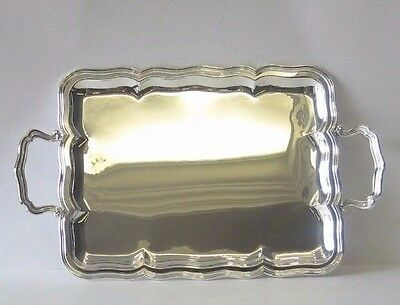 Fine Italian 925 Sterling Silver Serving Platter Tray With Handles 00429-3