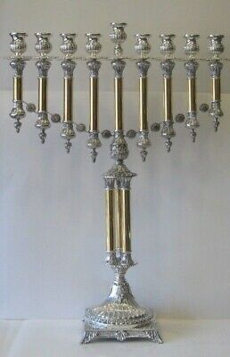 Fine 925 Sterling Silver & Gilded Large Italian Handcrafted Chanukah Menorah