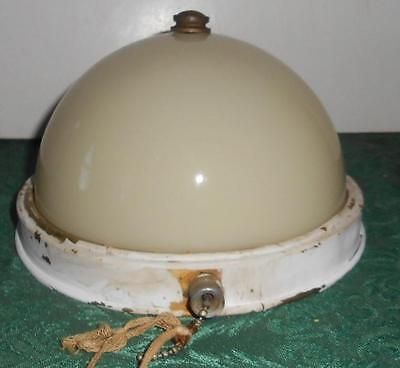 Antique/Vintage Deco Brass Flush Mount Ceiling Fixture with Glass Dome