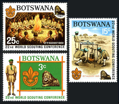 Botswana 51-53, MNH. 22th World Scout Conference. Lion, Cooking, Campfire, 1969