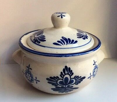 Vintage Oriental Hand Painted Blue & White Sugar Bowl With Lid