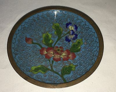 Antique Chinese Cloisonné Ring Or Pin Dish, Enamel Brass Hand Painted Floral