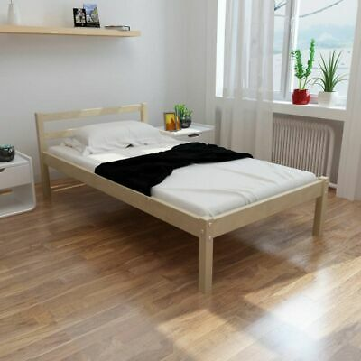 New Natural Solid Pinewood Bed 200 x 90 cm Easy Assembly Plywood Slats Sturdy