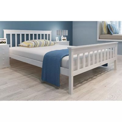 New White Solid Pinewood Bed 200 x 140 cm Easy Assembly Plywood Slats Sturdy